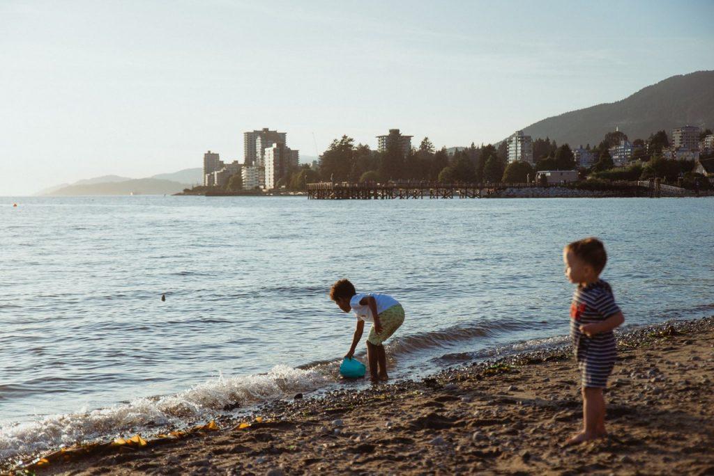 Kids playing at Ambleside Beach