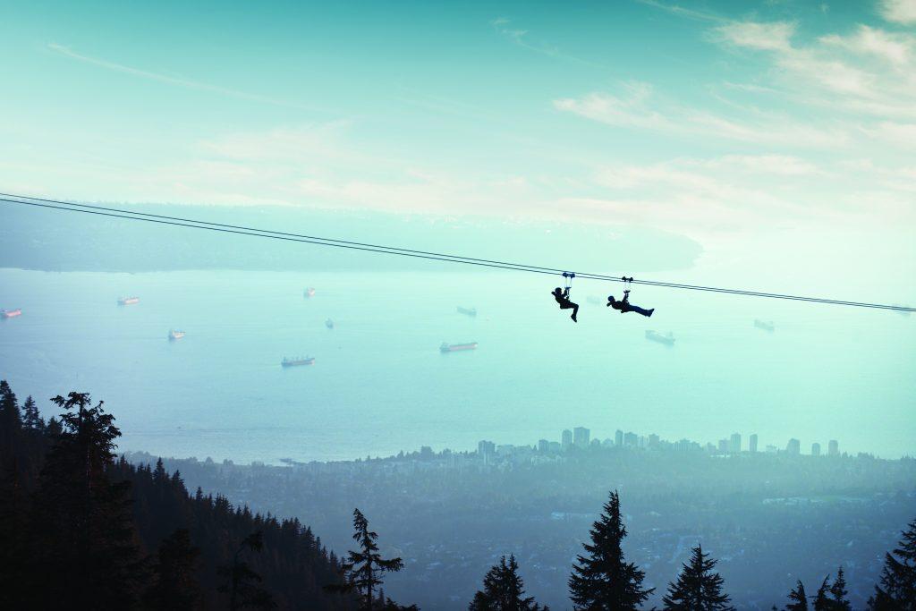 Ziplining on Grouse Mountain
