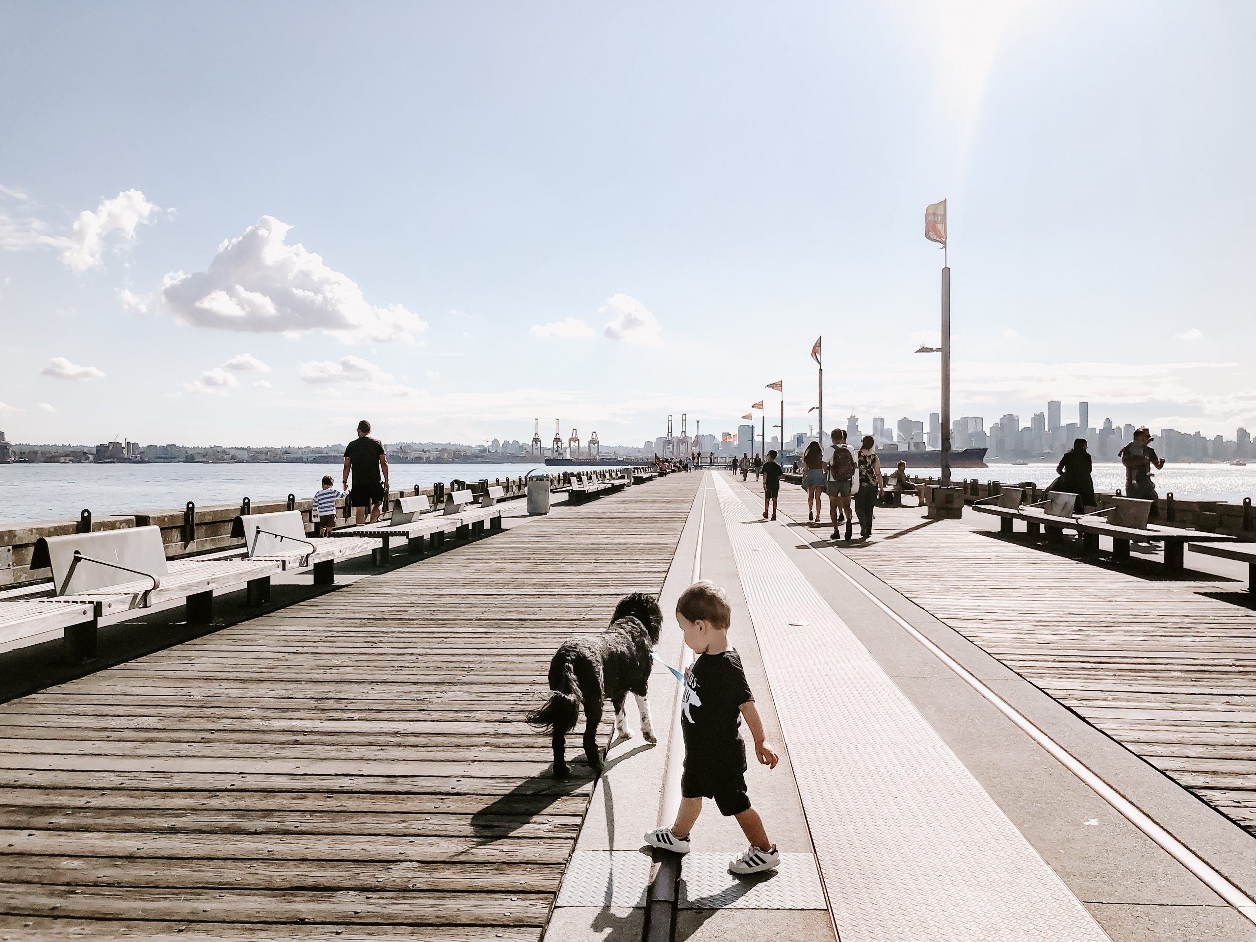 Kid playing with dog on pier in North Vancouver